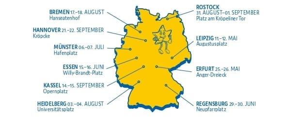 Jubiläum Deutschlandkarte 2 - Aktion Kindertraum – wie eine große Familie